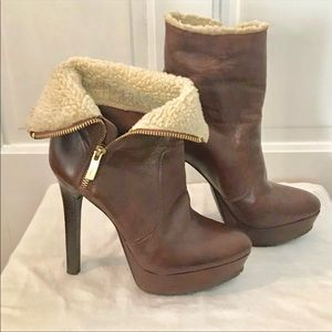 BCBG Faux Fur Lined Heeled Booties